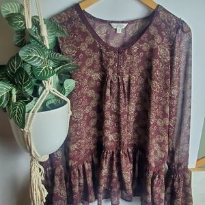 Charming Charlie Peasant Blouse Size M